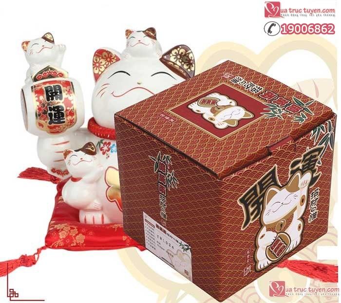 Mèo thần tài Ngũ phúc lâm môn và hộp kèm theo