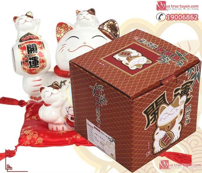 Mèo thần tài Phong sinh thủy khởi và hộp kèm theo