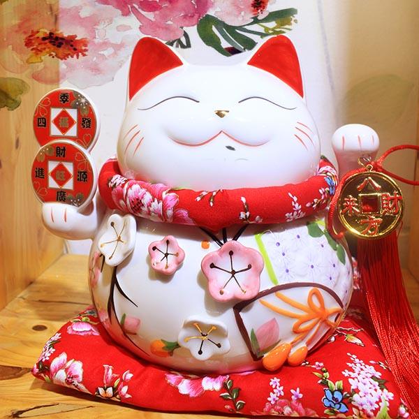 Mèo Thần Tài giơ 2 tay Tài Lộc Phú Quý