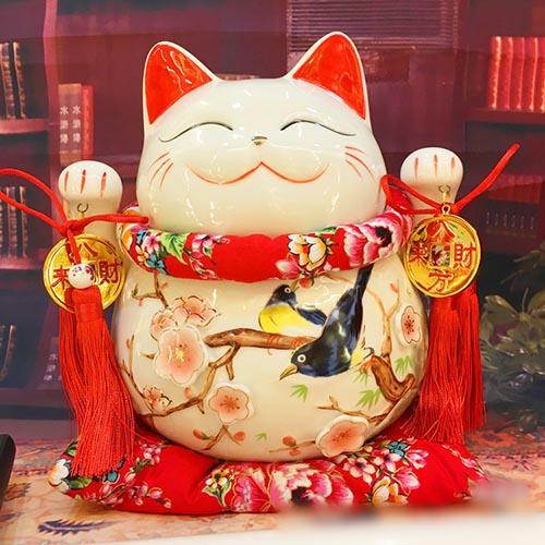 Mèo Thần Tài giơ 2 tay-Vinh Hoa Phú Quý 9004-25cm
