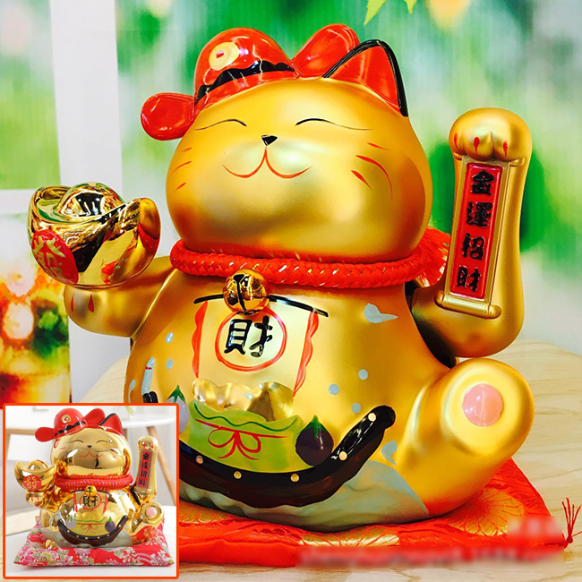Mèo vàng vẫy tay-Tài Lộc Vô Biên 9001-24cm