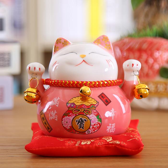 mèo thần tài hồng phúc lâm môn