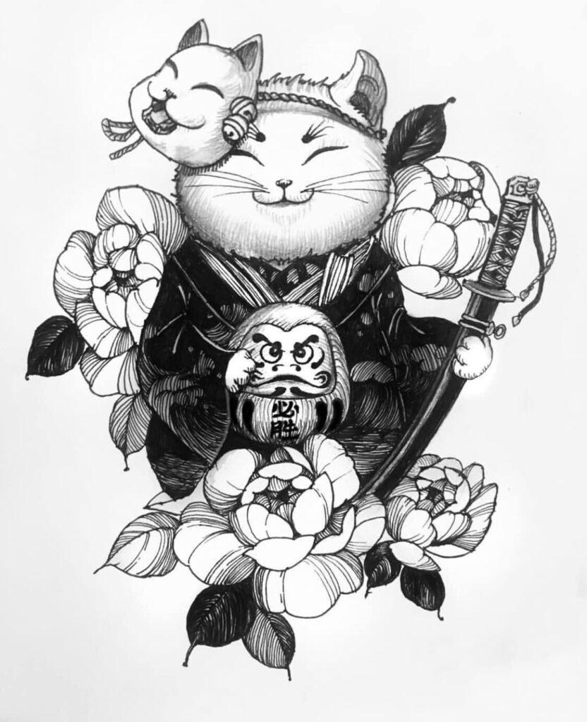 Gợi ý mẫu xăm mèo thần tài và daruma cho bạn