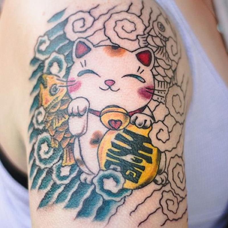 Hình xăm mèo thần tài Maneki Neko đẹp nhất
