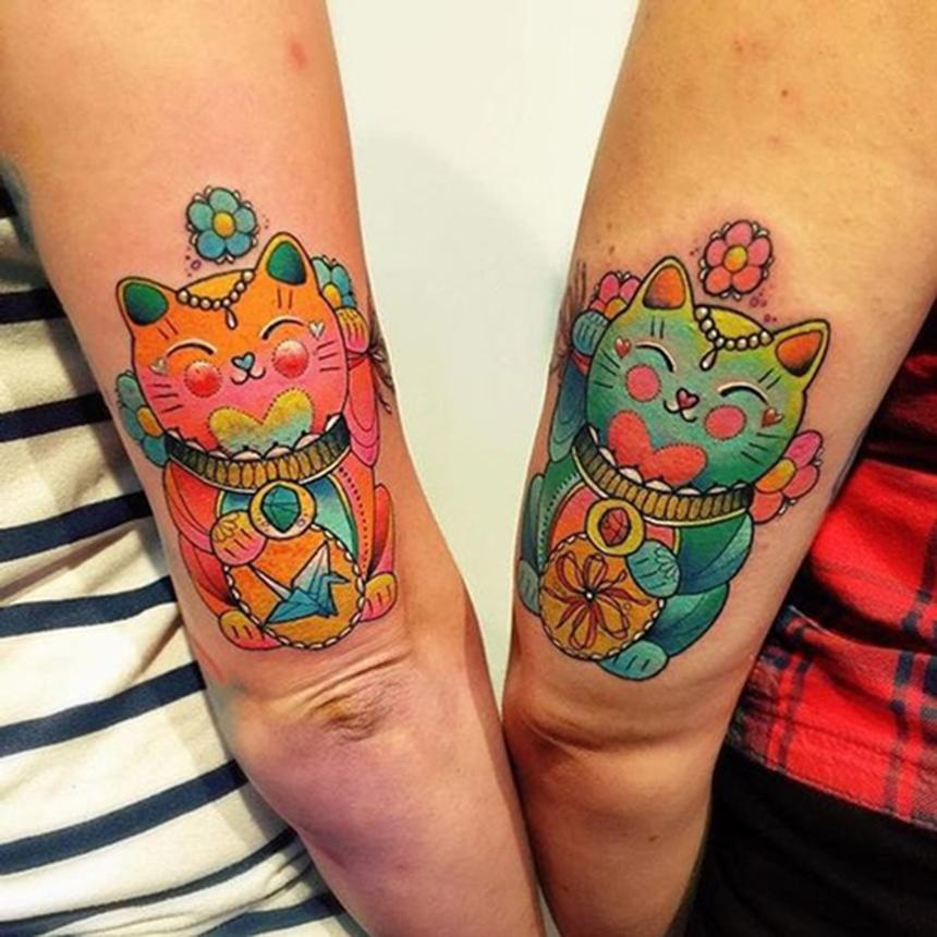Tattoo mèo thần tài đẹp nhất