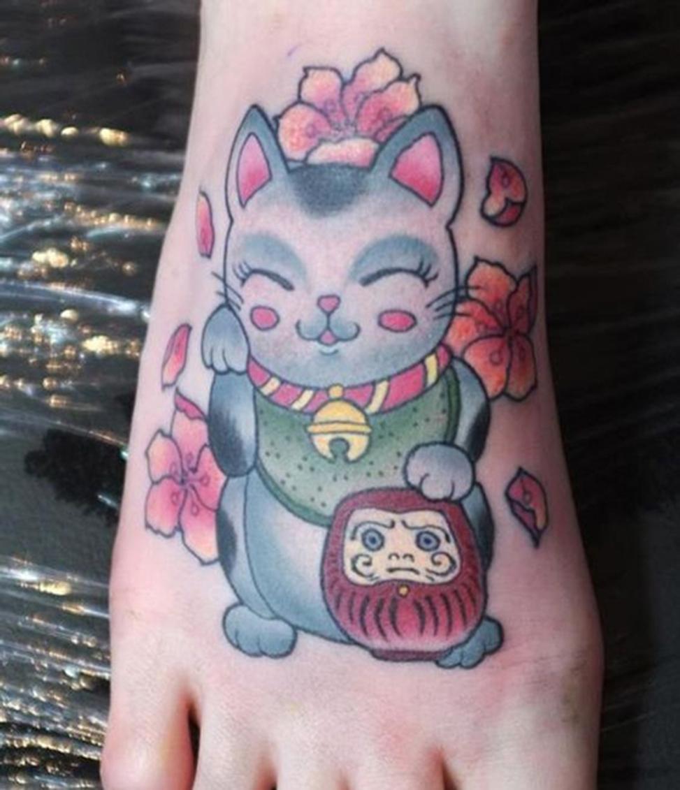 Xăm hình mèo thần tài đẹp nhất ở bàn chân