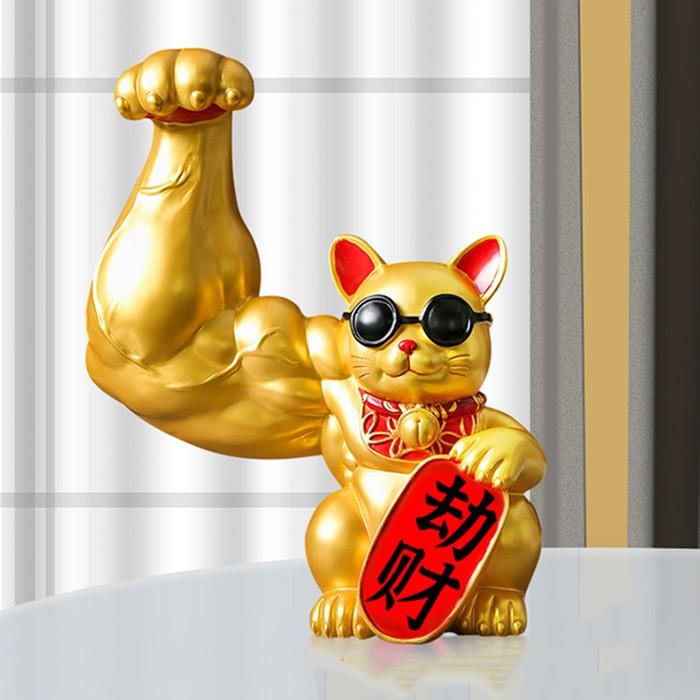 mèo thần tài tay to cơ bắp lực sĩ